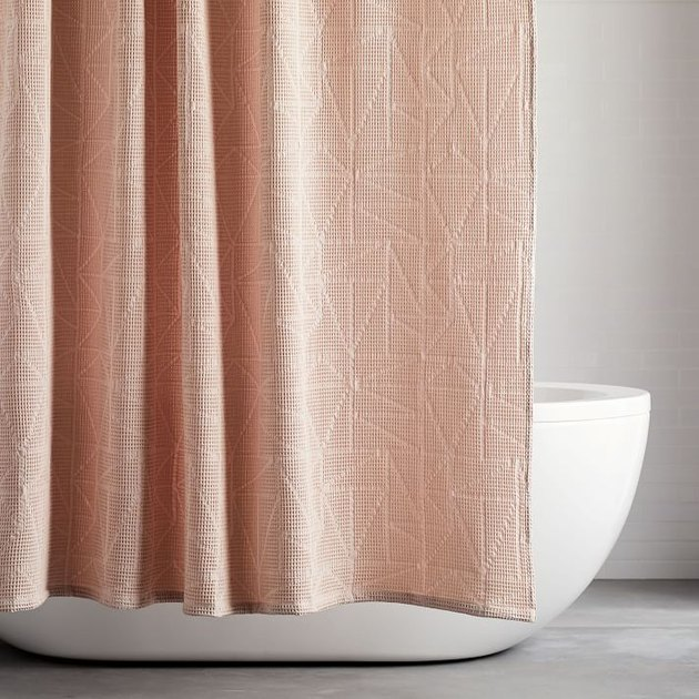 pink triangle waffle bathroom shower curtain idea