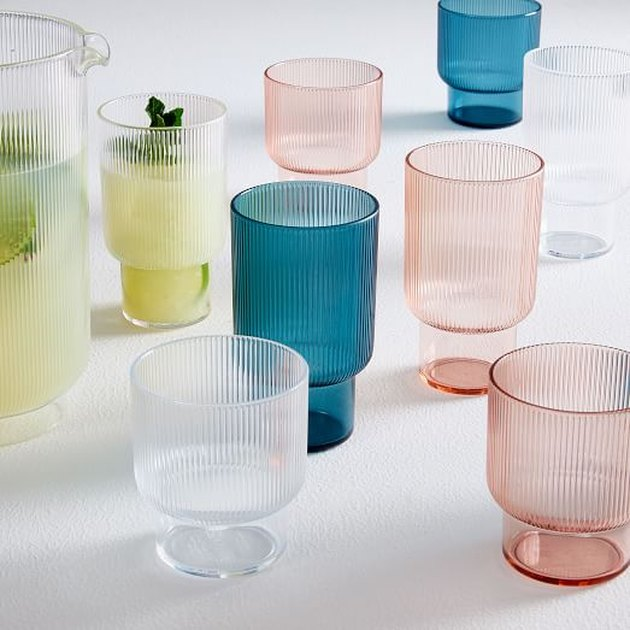 Blue, pink, and clear acrylic drinkware