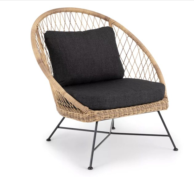 Article modern outdoor rattan chair with upholstered back cushion and seat cushion