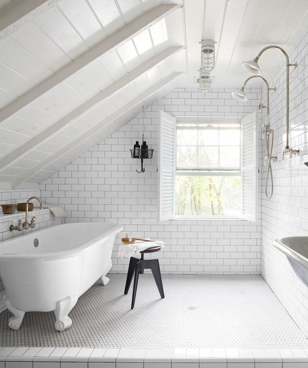 attic bathroom ideas with white subway tile and white penny tile