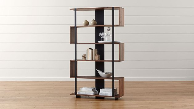 room divider idea for the living room with geometric bookcase