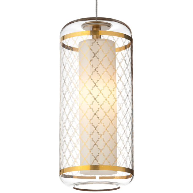 Glass cylinder pendant light with gold metal striped detail on top and bottom