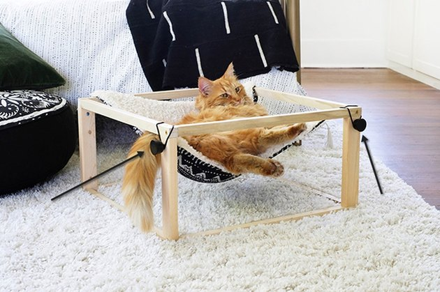 Drill out holes to attach drawer knobs on cat hammock