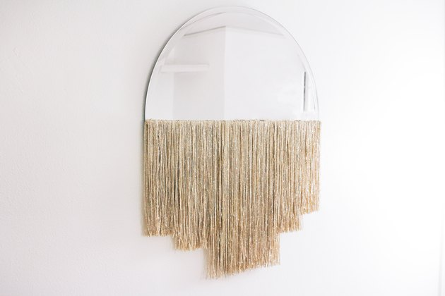 DIY half moon fringe mirror