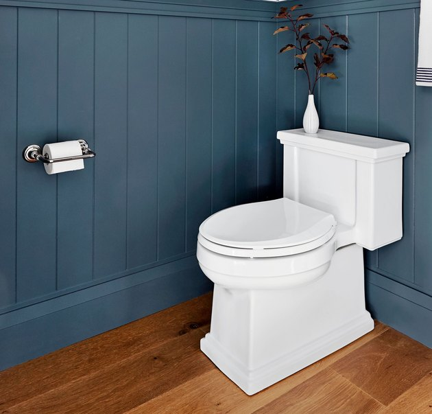 toilet with blue shiplap
