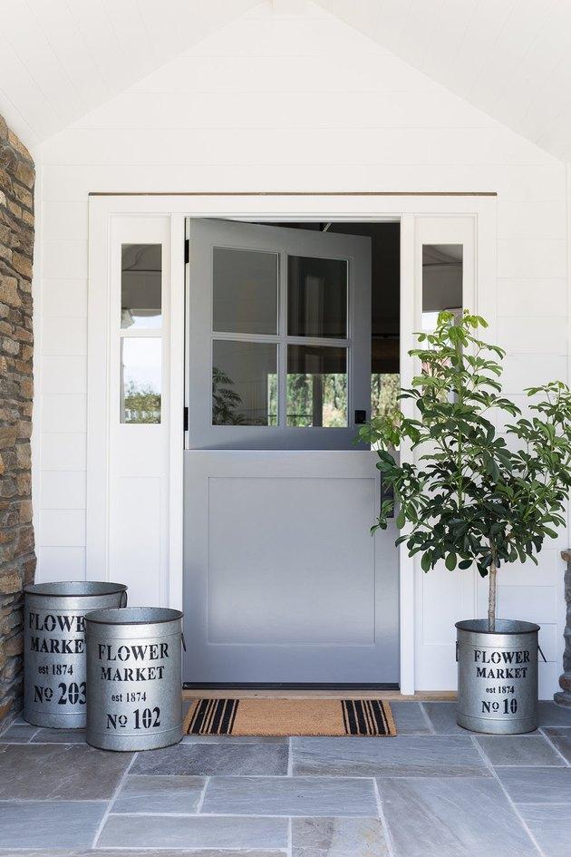 gray exterior Dutch door, bluestone patio