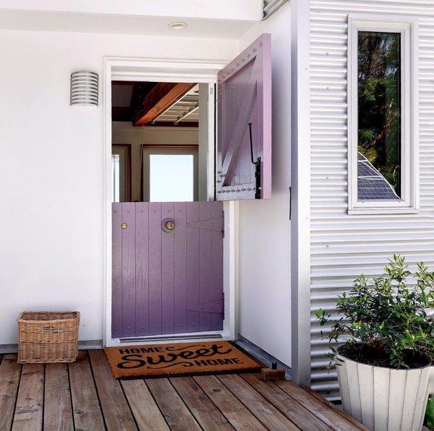 purple tongue and groove exterior Dutch door
