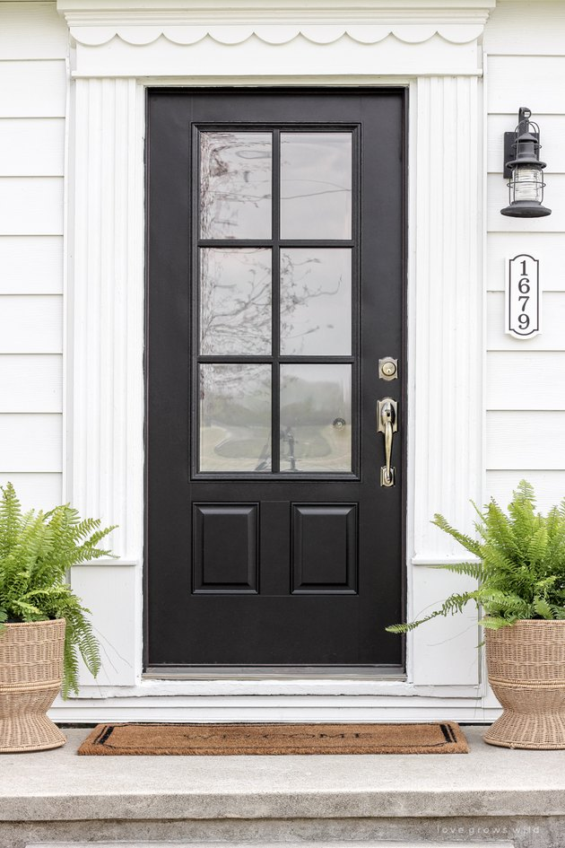 black exterior door idea with window inserts for white house with