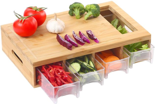 bamboo cutting board with sliding drawers