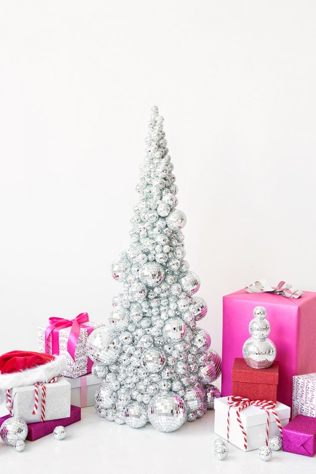 DIY tree made from disco balls
