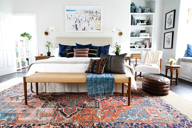pattern-filled bedroom