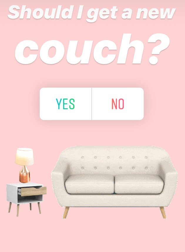 screenshot with text reading should I get a new couch and a side table with lamp and couch