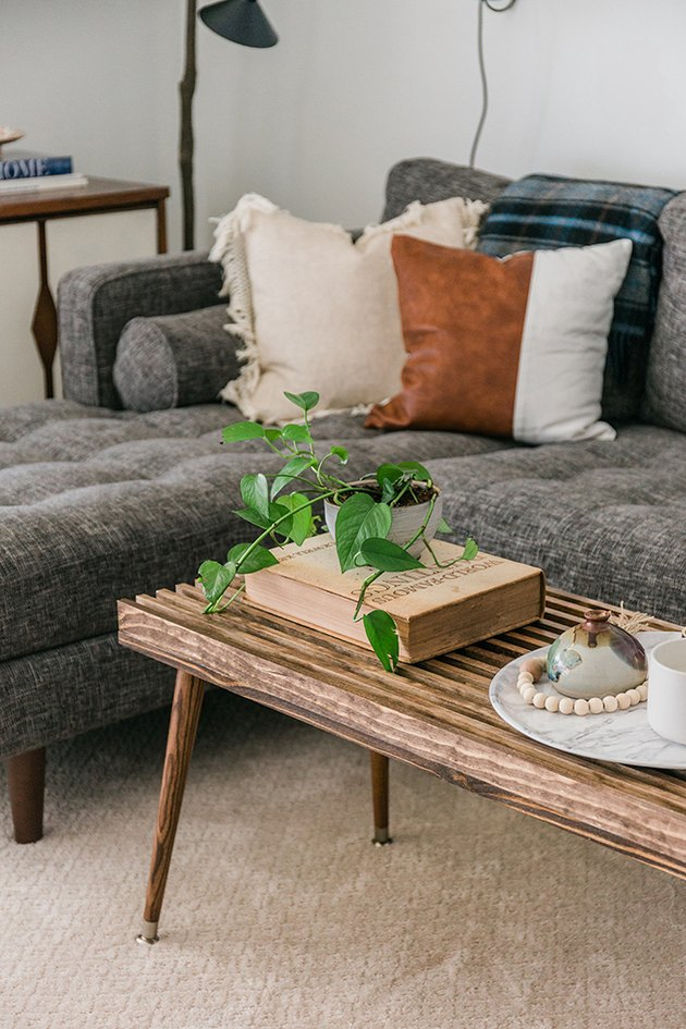 This wood slat coffee table was inspired by vintage furniture from the 1960s.