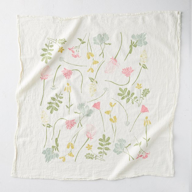flower pattern tea towel