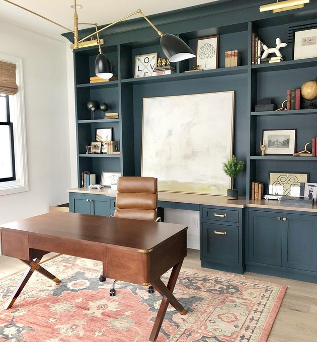 industrial office idea with blue painted built-ins in home office