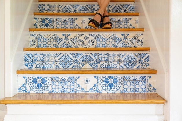 DIY Patterned Stair Risers using removable wallpaper
