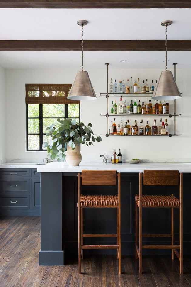 white and blue industrial bar idea with wood bar stools