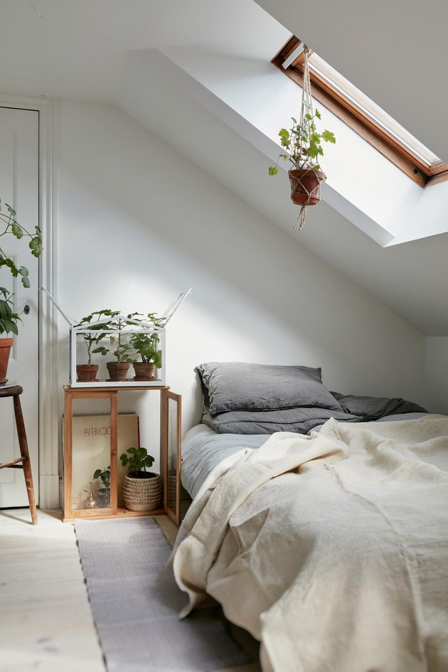 Attic bedroom idea with white walls and ceiling and houseplants