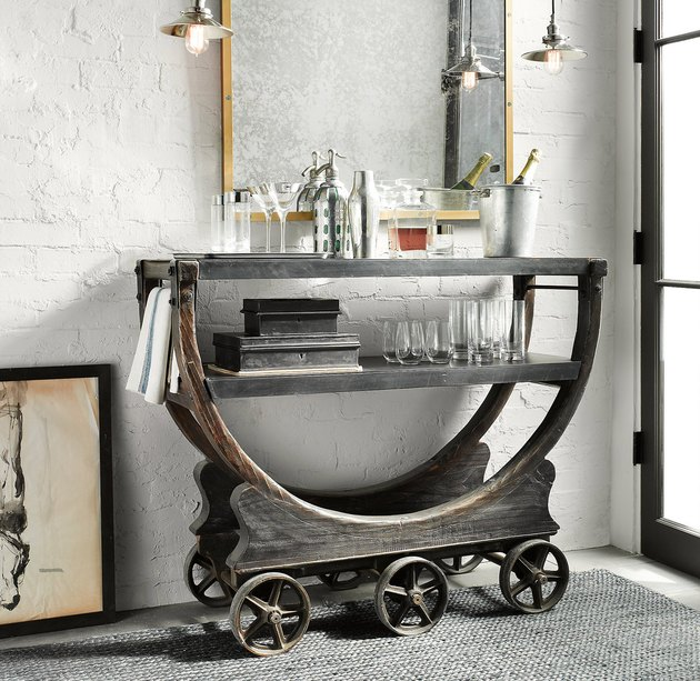wrought iron and wood industrial bar idea
