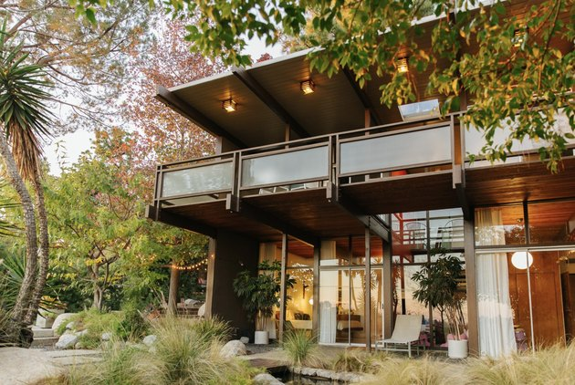 Historic midcentury modern exteriors with balcony