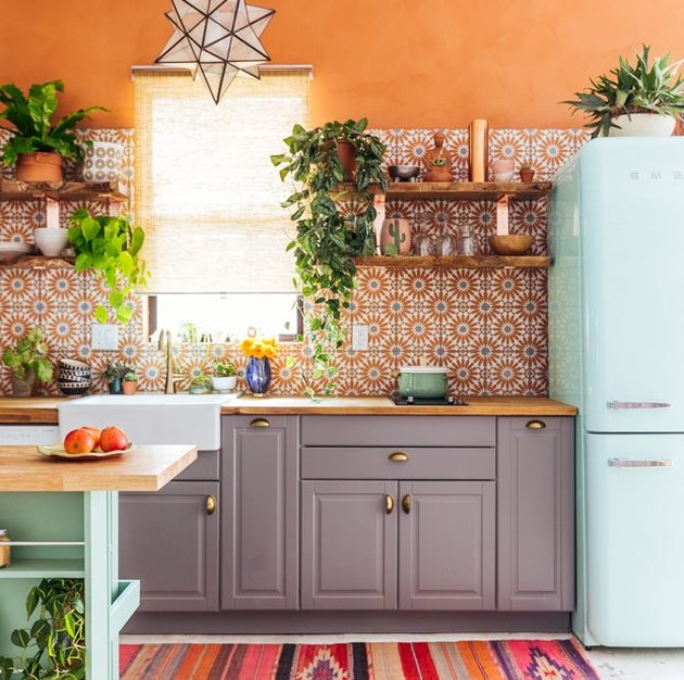 Orange and blue kitchen