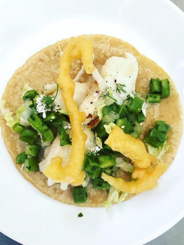 overhead photo of a taco on a white plate