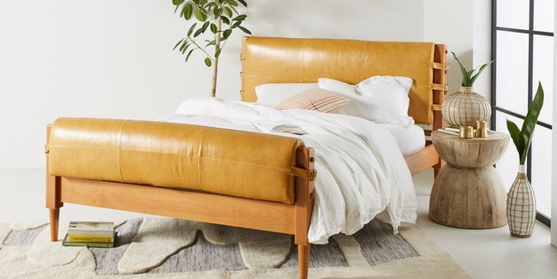 anthropologie leather bed