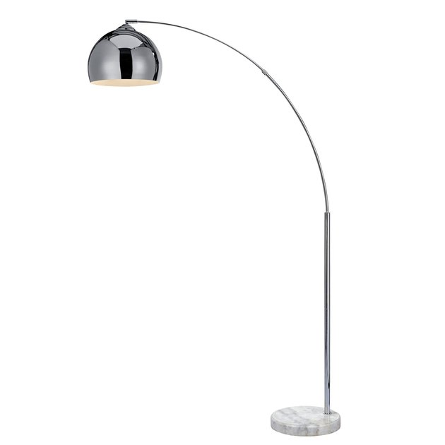 Chrome arched floor lamp with chrome dome shade