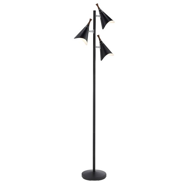 Black floor lamp with three thin conal shades at different heights