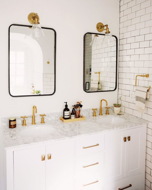 master bathroom makeover with his and hers sinks