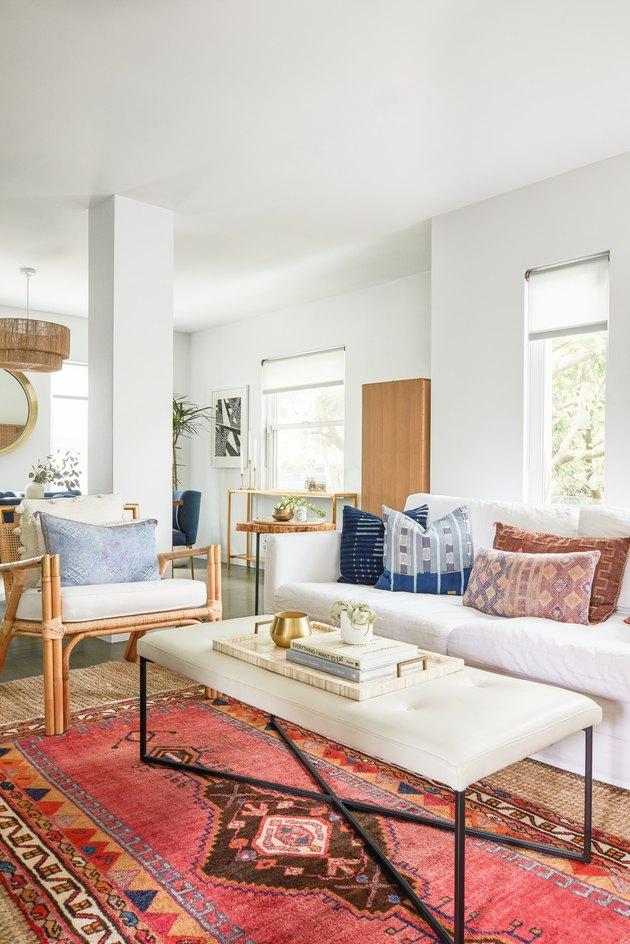 Vintage rug in bohemian living room