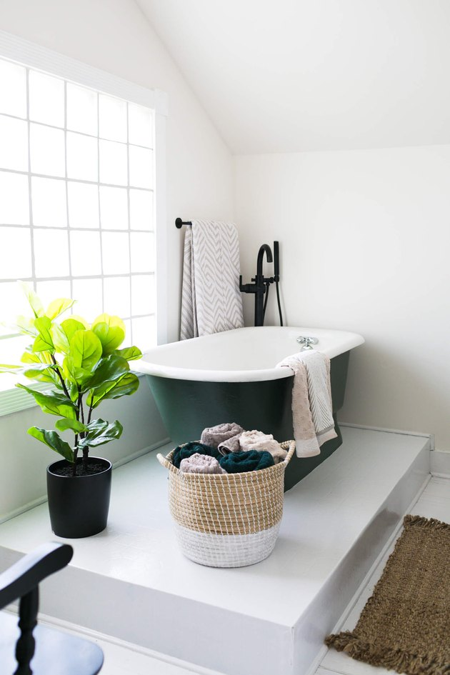 bathroom makeover with fiddle leaf fig tree