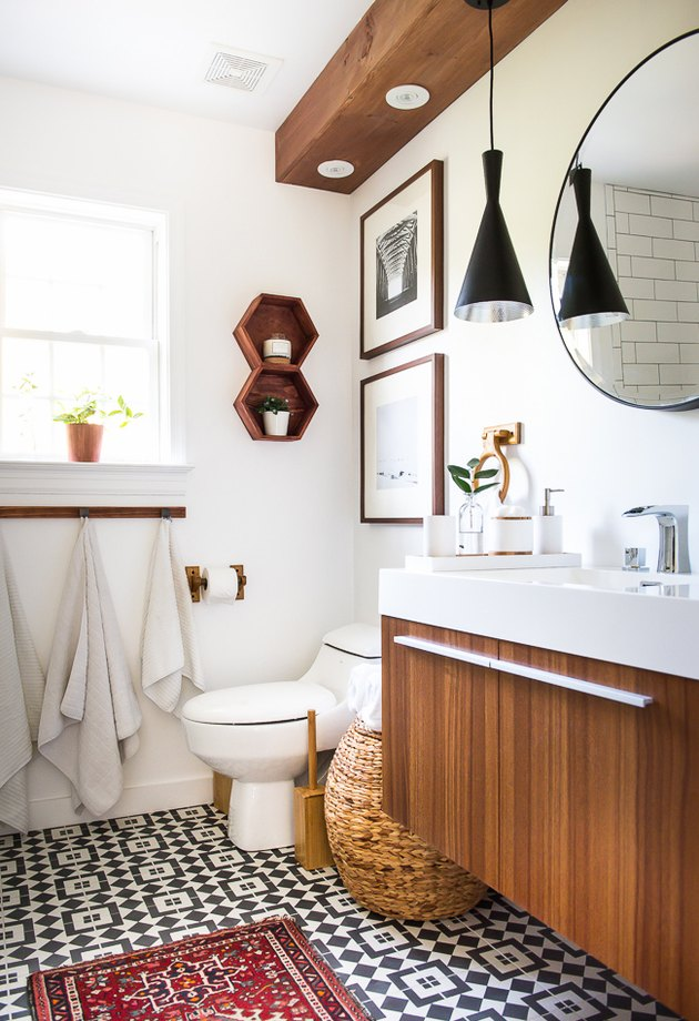 midcentury bathroom remodel with patterned floor tile