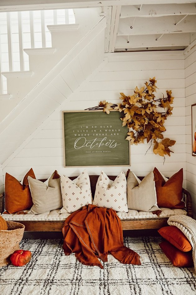 under the stairway nook with farmhouse fall decor