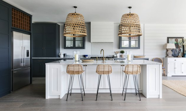 Modern coastal kitchen ideas with basket lights over island