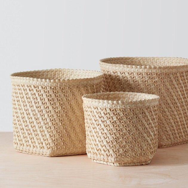 three palm baskets