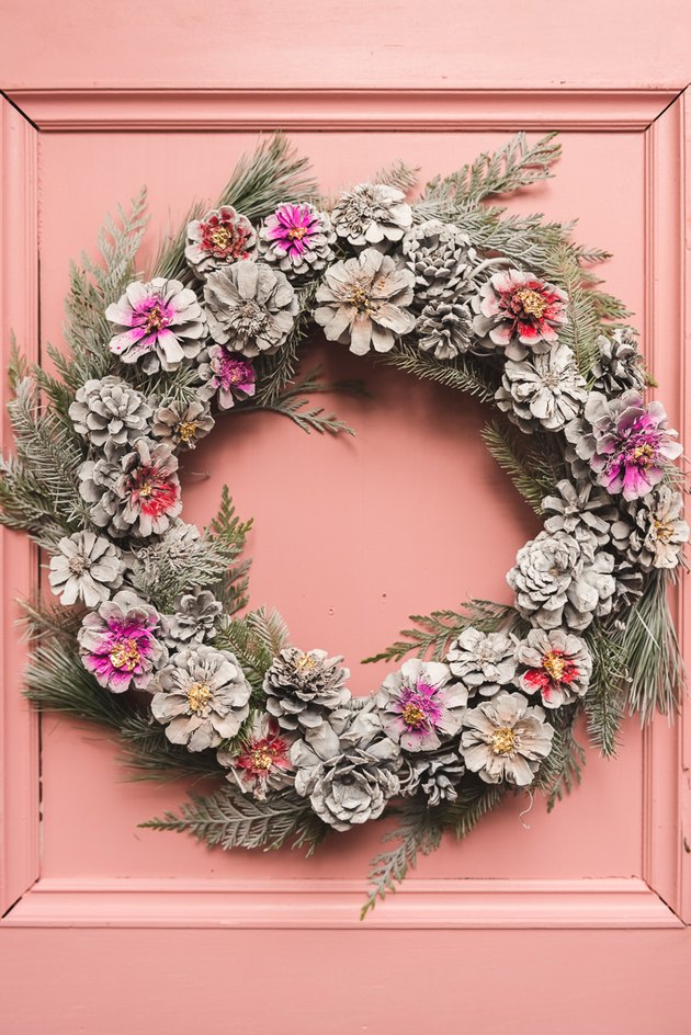 DIY spray painted pinecone Christmas wreath by The House That Lars Built