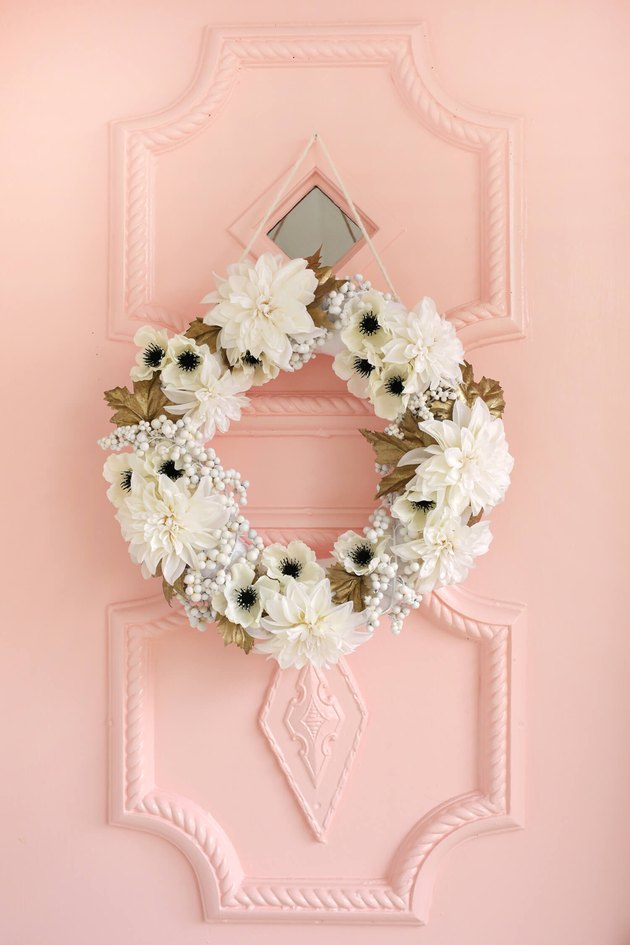 White and gold fall and holiday christmas wreath by A Beautiful Mess