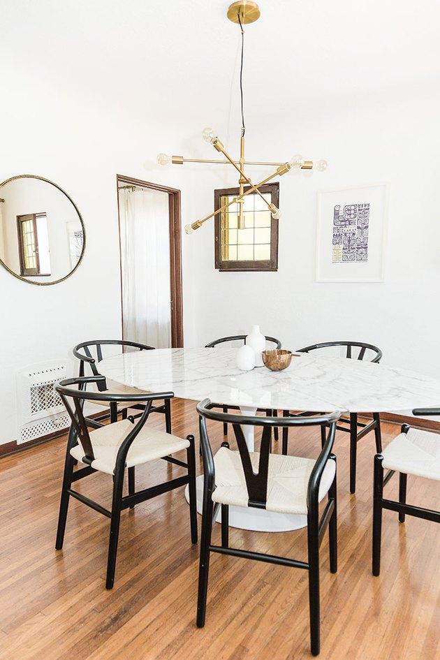 white midcentury dining room