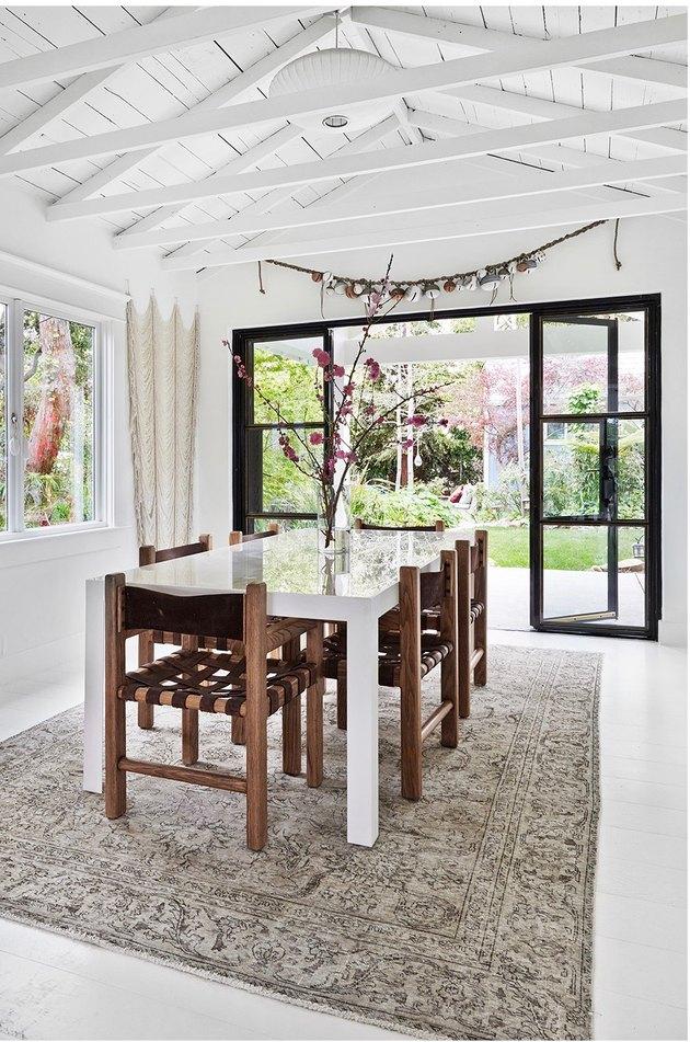 white modern farmhouse dining room