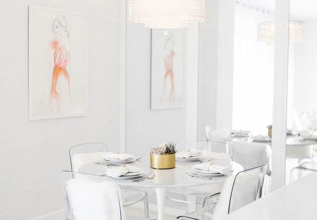 all-white monochromatic dining room
