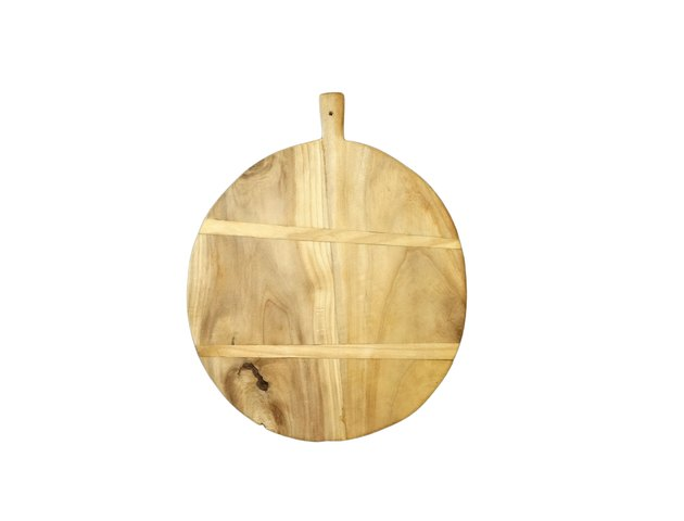 Round blonde wood bread board with small handle