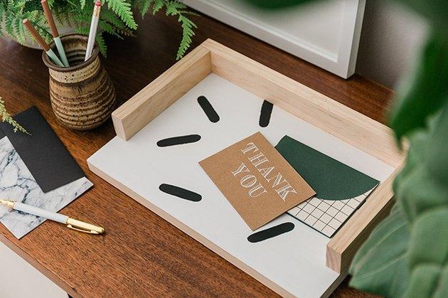 DIY Wood Paper Tray Organizer