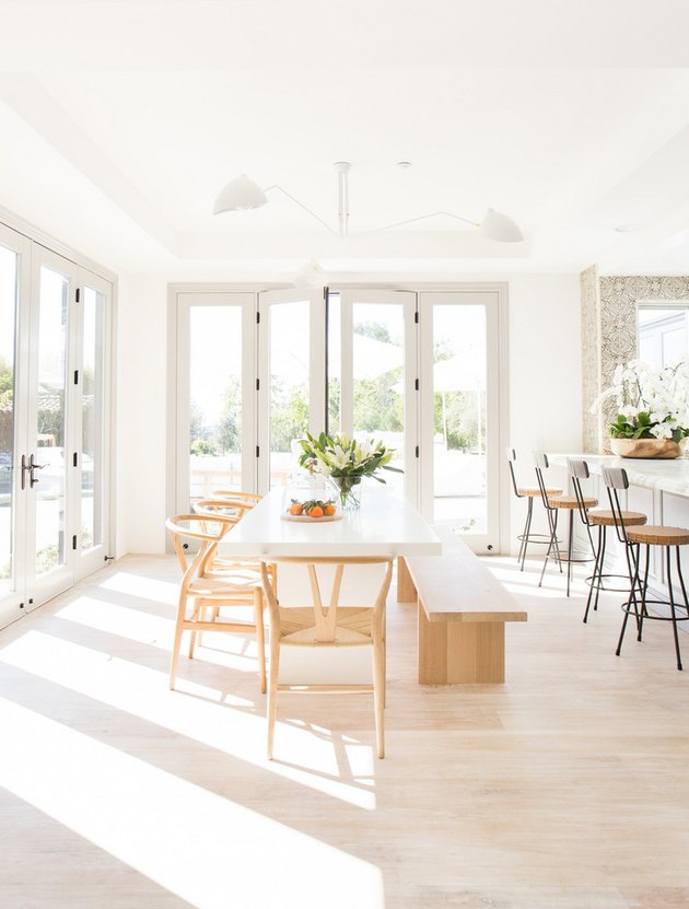 white dining room with minimalist decor