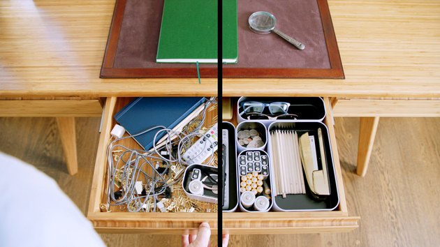 drawer showing one messy side and one organized one