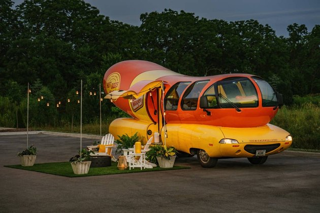 Wienermobile with patio