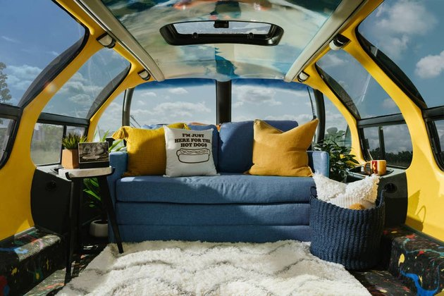 sofa inside Wienermobile