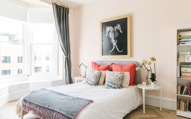 millennial pink bedroom in Victorian townhouse in San Francisco