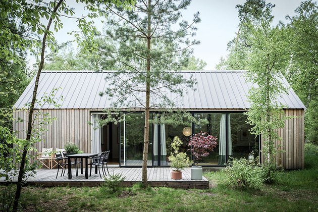 Scandi-inspired cabin with natural wood exterior and glass wall