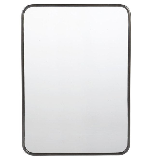 Large rounded rectangular mirror with thin black metal frame